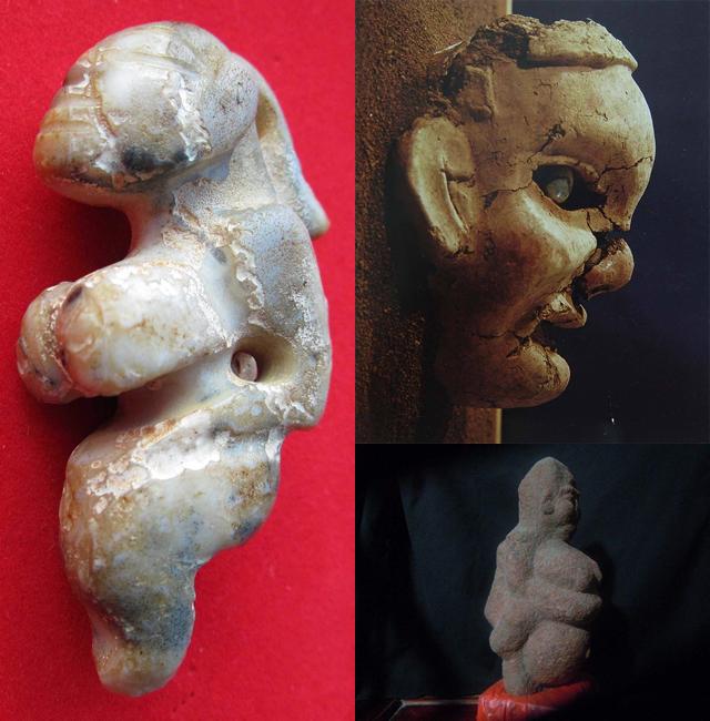 ▲极其常见的几种红山女神像文物,突出的乳房和腹部表现的是孕期或者哺乳期的母亲形象。